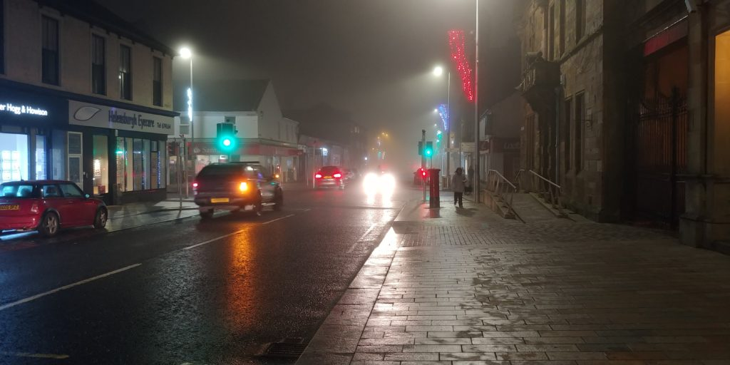 Helensburgh town centre blanketed by thick fog
