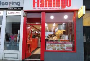The shopfront of Flamingo restaurant, Helensburgh.