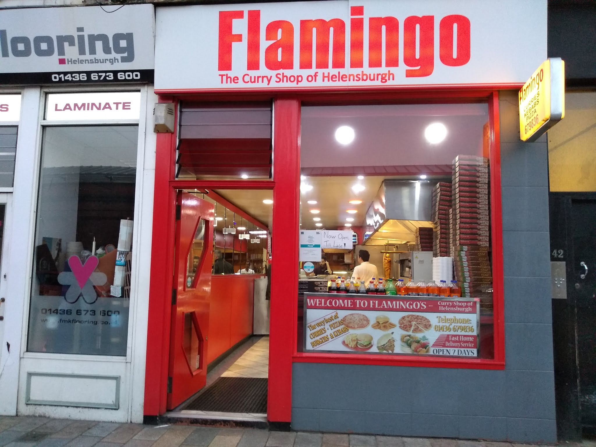 The shopfront of Flamingo restaurant, Helensburgh.