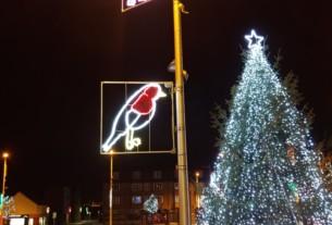 "Festive robin decoration in ""legs on"" mode"