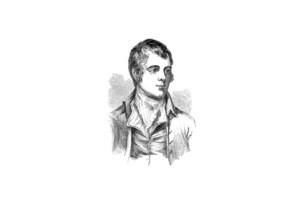 Robert Burns likeness on a white background