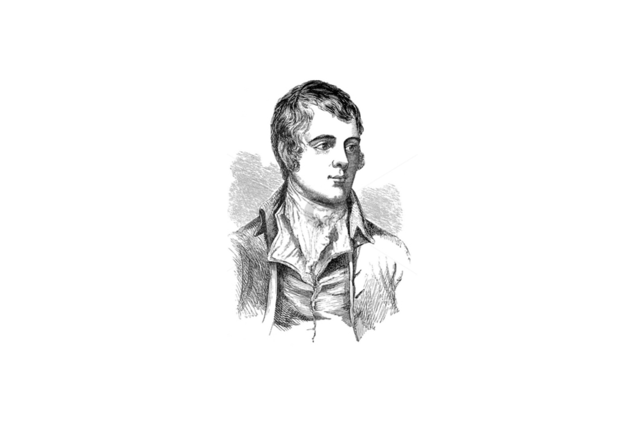 Robert Burns likeness on a white background