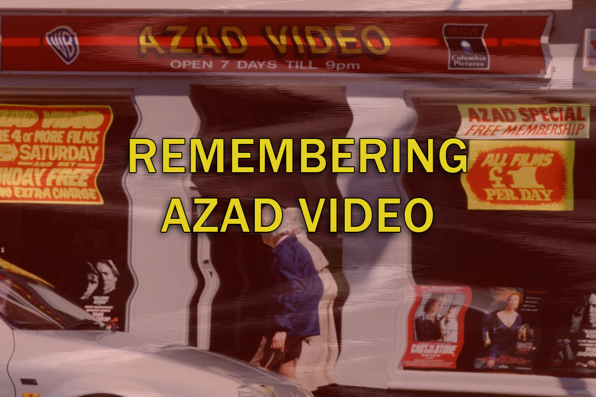 Remembering Azad Video - a stylised photograph depicting an Azad video store with VHS style distortion