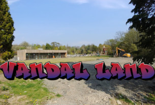 Vandal Land logo over a picture of Hermitage Park