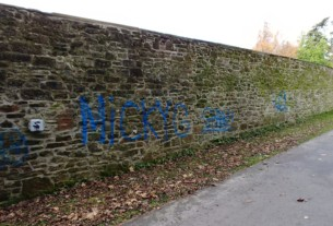 Graffiti on the Cenotaph wall at Hermitage Park